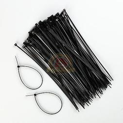 100 PACK 8 INCH ZIP TIES NYLON BLACK 18 LBS UV WEATHER RESIS