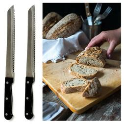 2 X 8 inch Bread Knife Sharp Stainless Steel Serrated Edges