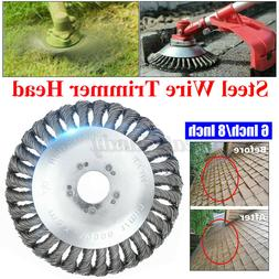 8 Inch Steel Wire Wheel Brush Grass Trimmer Head Weed Cleani