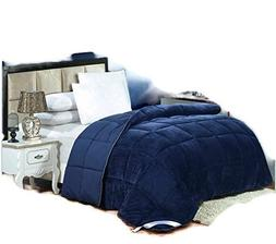 Flannel Goose Down Alternative Comforter , Reversible, Silic