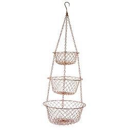 Fox Run 5211 3 Tier Hanging Wire Baskets, Copper