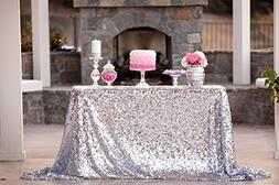 ShiDianYi 50''x72''silver Sequin Tablecloth, Wedding Table C