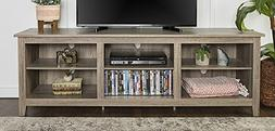 """WE Furniture 70"""" Wood Media TV Stand Storage Console, Driftw"""
