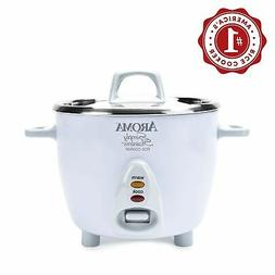 Aroma Simply Stainless 3-Cup 6-Cup  Rice Cooker, White