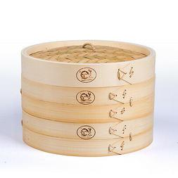Bamboo Steamer 8 inch Set 2 Dim Sum Basket Rice Cooker Authe