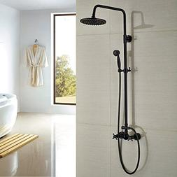 Rozin Bathroom Shower Faucet Set 2 Knobs Mixing 8-inch Rainf
