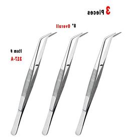 "3 PCS 8"" COLLEGE TWEEZERS/COTTON DRESSING PLIERS DENTAL SURG"