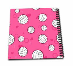 3dRose db_195244_1 Pink Volleyball Pattern Drawing Book, 8 b