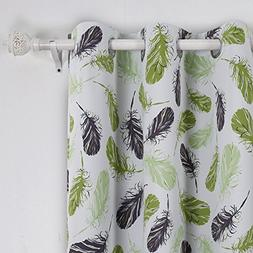 Deconovo Grommet Top Feather Print Thermal Insulated Bedroom
