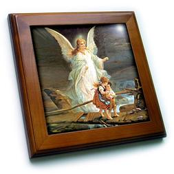 3drose Guardian Angel Framed Tile, 8 by 8-Inch