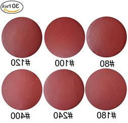 30 PCS 8-Inch NO-Hole PSA Aluminum Oxide Sanding Disc, Self
