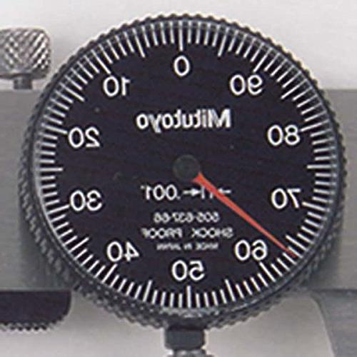 """Mitutoyo Dial Calipers, Inch, Face, Inside, Outside, Depth Step Measurements, Steel, 0""""-8"""" +/-0.002"""" Accuracy, 0.001"""" Depth"""