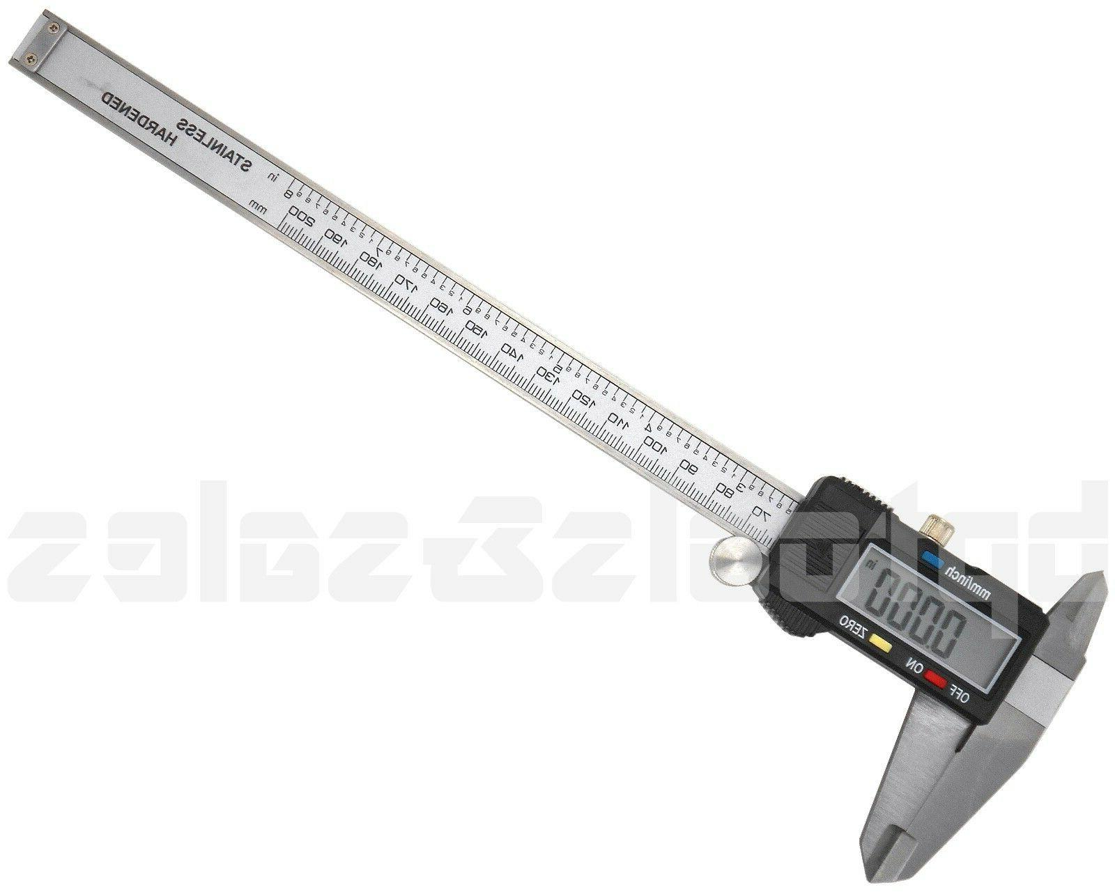 """New 8"""" Electronic Digital Caliper Stainless Precision Inch/M"""