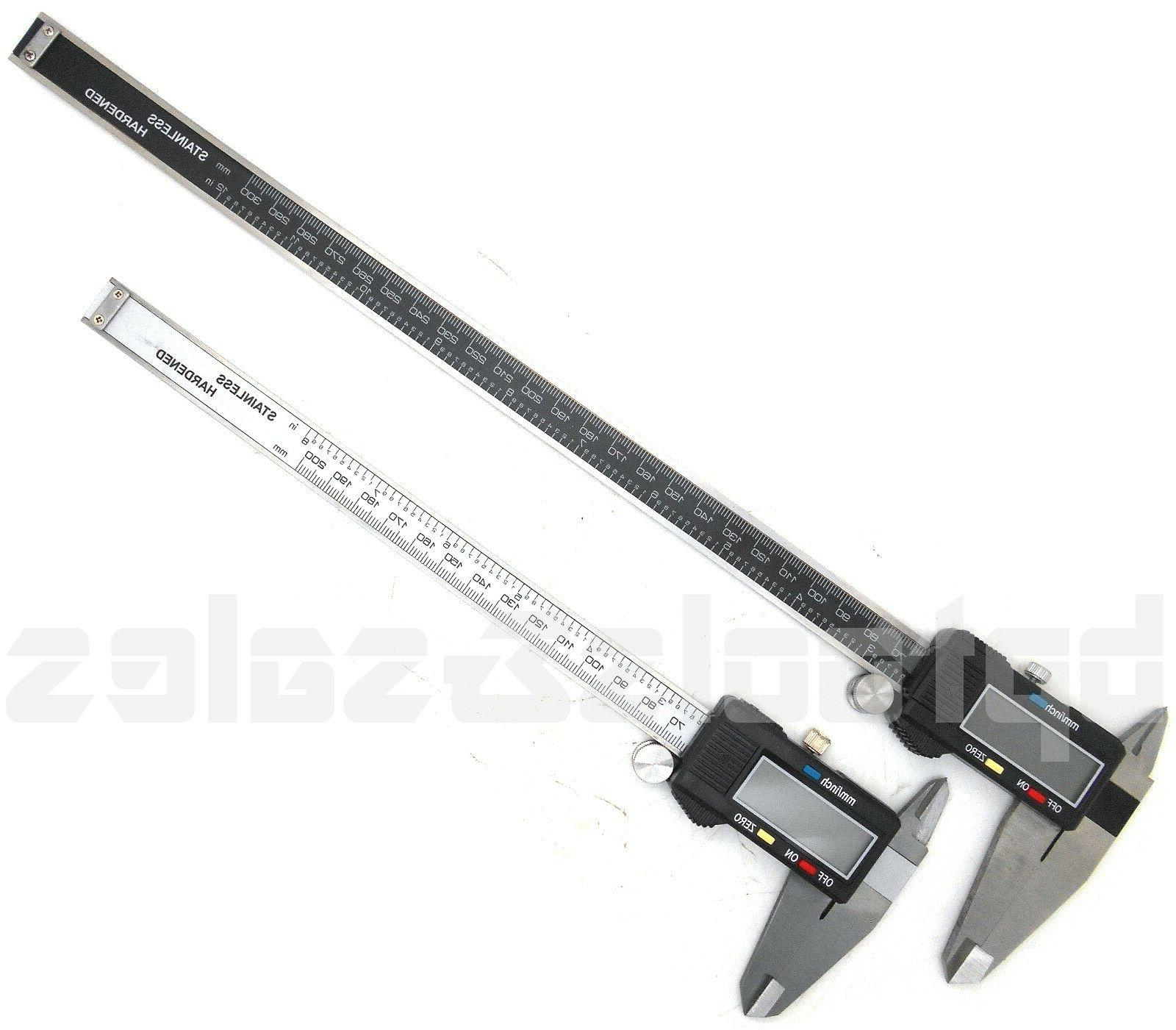 "8"" & 12"" Electronic Digital Caliper Precision Stainless Inch"