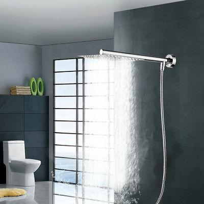 8 inch Rainfall Head with Bottom Entry Shower Hose