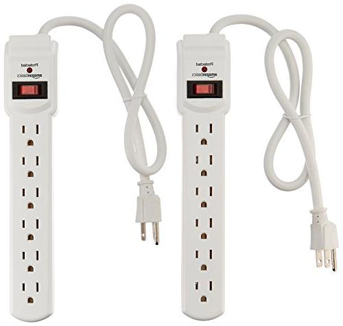AmazonBasics 6-Outlet Surge Protector Power Strip 2-Pack, 20