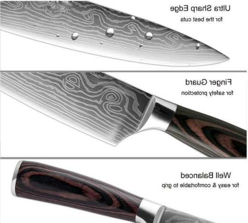 Damascus Chef Knife 8-Inch Japanese Kitchen Knife Slicing Wooden