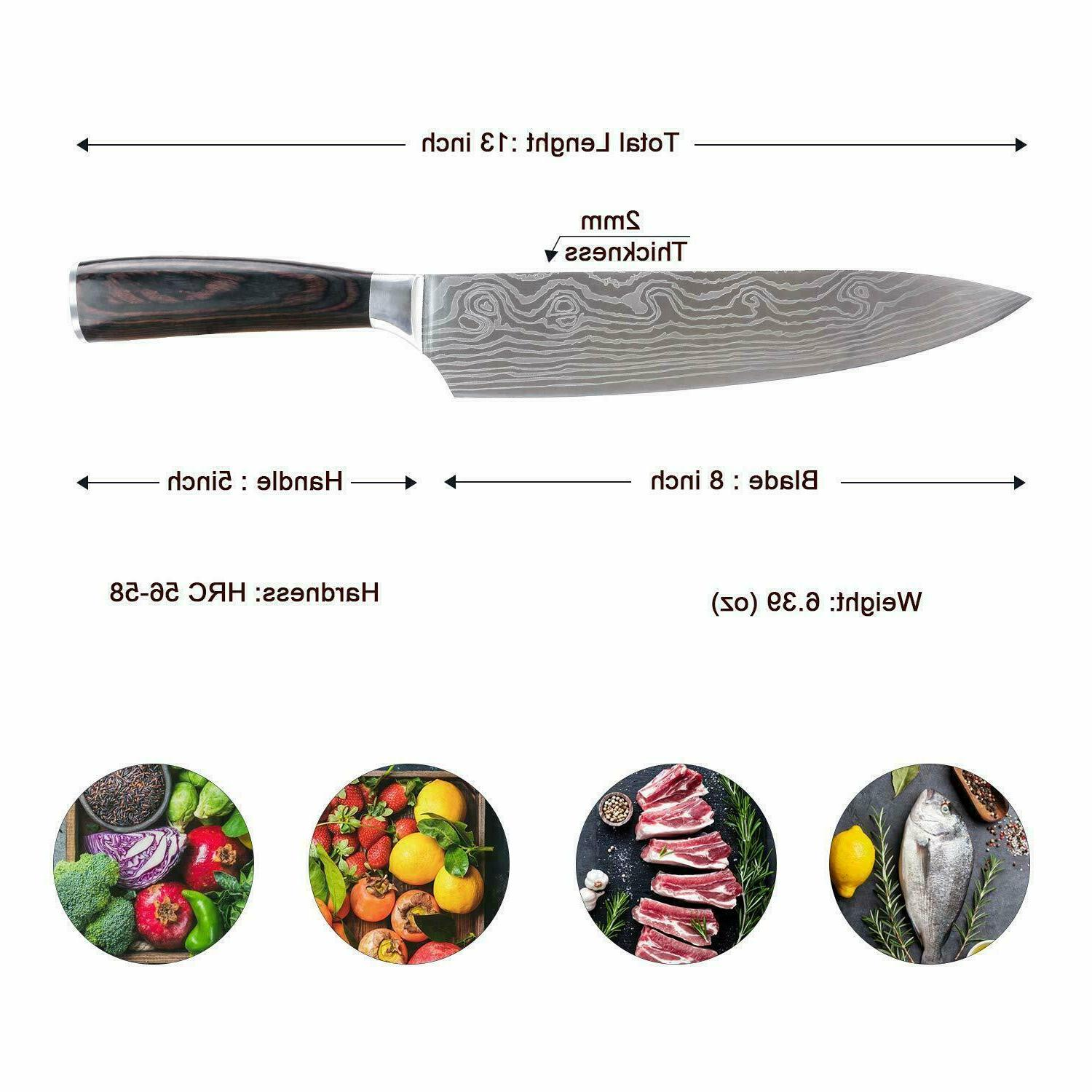 Damascus Pattern Chef Slicing Knife Wooden