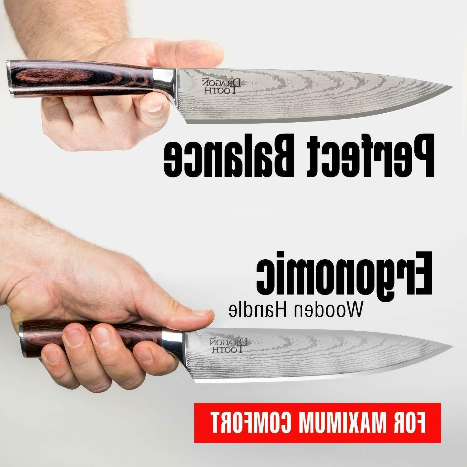 FIRE Chef 8 Inch Steel Damascus Kitchen Professional Knives