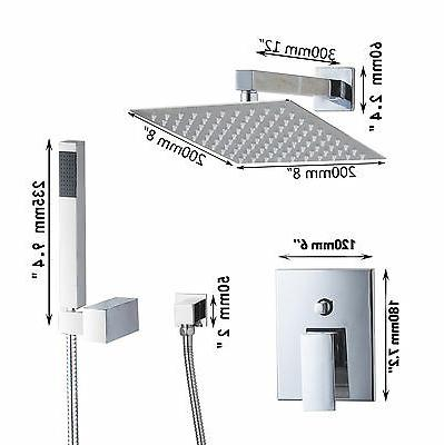 LED 8Inch Rainfall Shower Faucet with Spray Mixer Finish