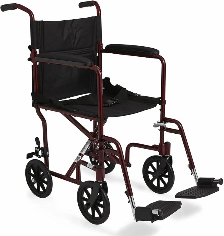 Medline Transport with Wheels, Red, inch