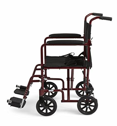 Medline Aluminum Transport Chair with Wheels, 8