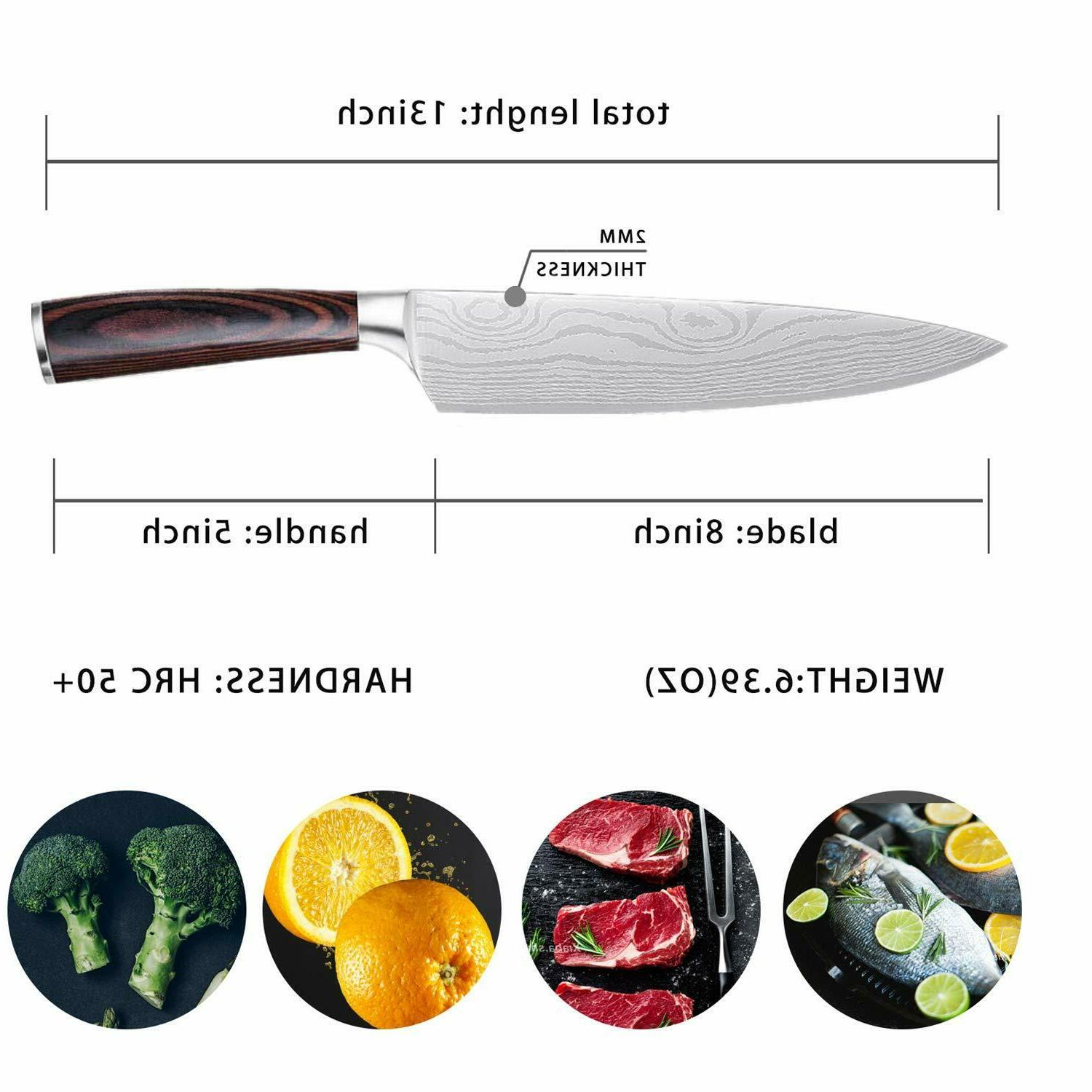 Damascus Chef 8-Inch Knife Slicing Wooden
