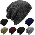 Plain Beanie Knit Hat Mens Women's Winter Warm Cap Slouchy S