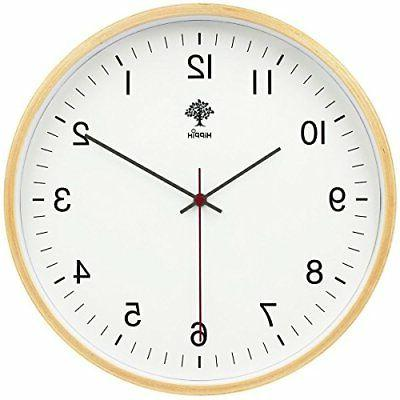 silent wall clock wood non