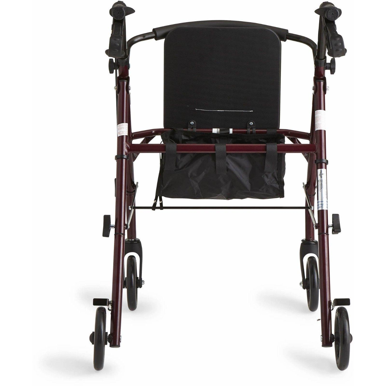 Medline Steel Rollator Mobility Walker 350 Weight Capacity and