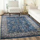 Traditional Oriental Medallion Area Rug Persian Blue Carpet