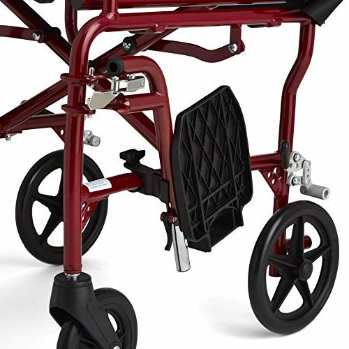 Medline Ultralight Wheelchair, Wide Permanent Arms, Away Footrests, Red Frame