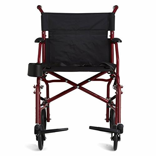 """Wheelchair, 19"""" Seat, Away Footrests, Red Frame"""