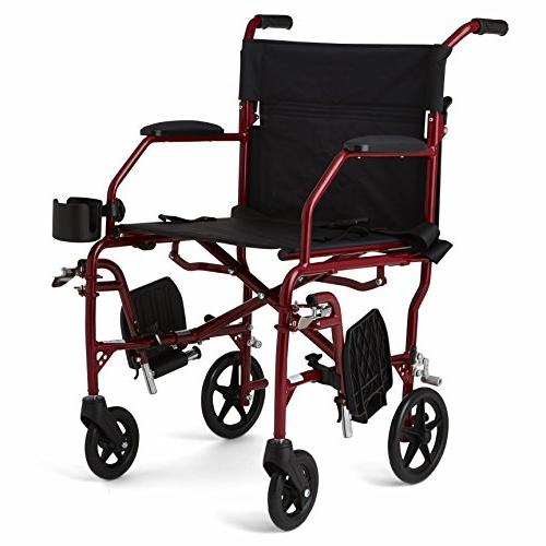 """Medline Transport Wheelchair, 19"""" Wide Permanent Desk-Length Arms, Swing Away Red"""