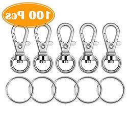 Paxcoo 100 Pcs Metal Swivel Lanyard Snap Hook with Key Rings