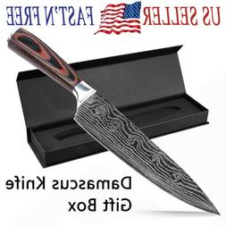 NEW 8 Inch Damascus Pattern Chef Knife Carbon Steel Kitchen