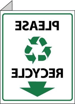 "NMC TV18 10"" x 8"" Flange Sign w/Legend:Please Recycle, Rigid"