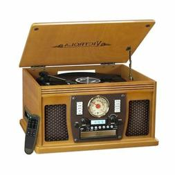 Victrola Nostalgic Aviator Wood 8-in-1 Turntable Entertainme