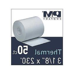 PM Co Thermal Paper Roll, 3-1/8 inch x 230 foot, 50 rolls