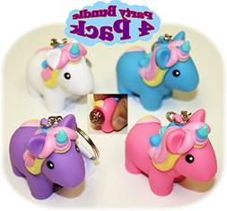 Animolds PooPoo Unicorn  Keychains Pink, Blue, Purple & Whit