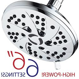 High Pressure 6-inch / 6-Setting Premium Rain Shower Head by