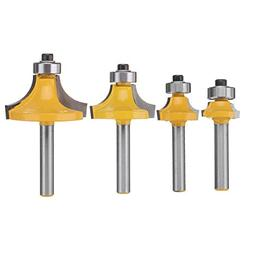 Yingte Round Over Router Bit,4pcs 1/4 Inch Shank,1/2 3/8 1/4