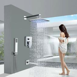 Shower Faucet Combo Set 8 Inch LED Rain Shower Head Handheld