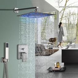 Brushed Nickel Shower Faucet System Set 8 inch LED Rainfall
