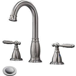 Phiestina Three-Hole 8 inch Two-Handle Brushed Nickel Widesp