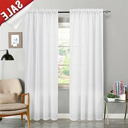 White Curtains for Bedroom Semi Sheer Curtains Casual Weave